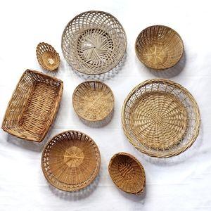 Wicker Basket Vintage Woven Wall Decor Set of 8